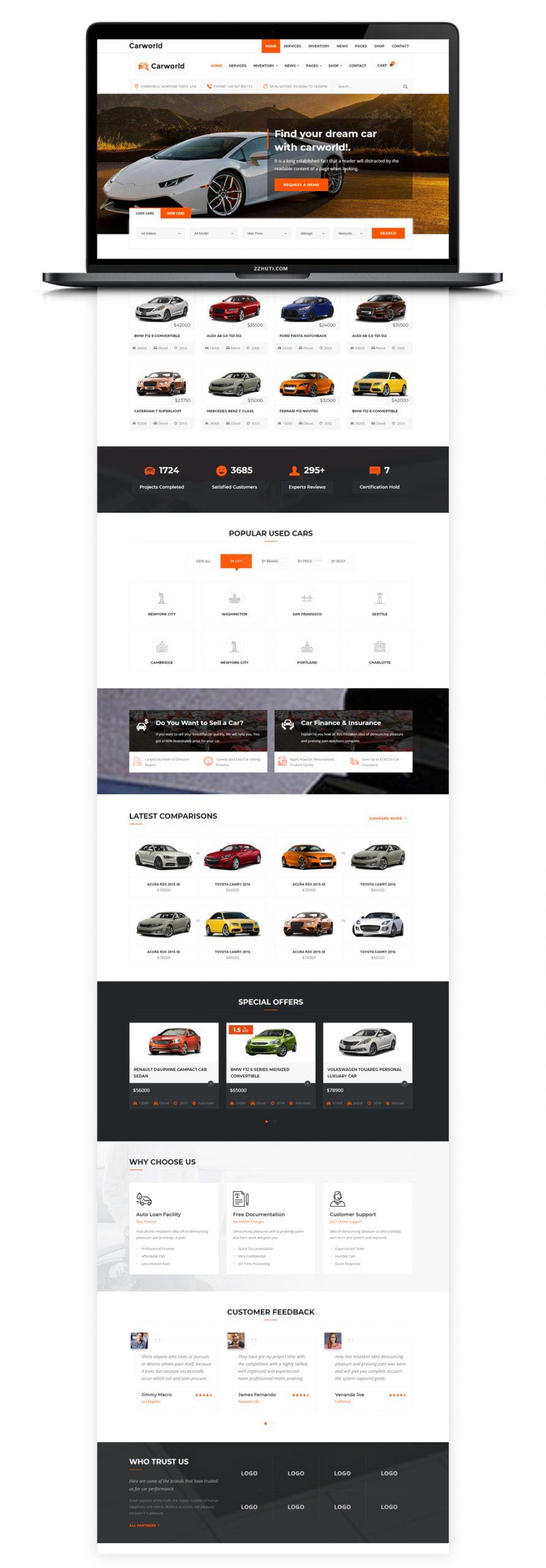 【汽车销售HTML网页】橘色空气Bootstrap响应式网站汽车贸易汽车4S店网站模版插图